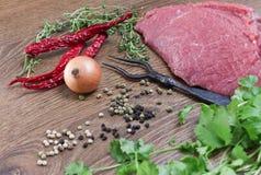 Kött och kryddor Royaltyfri Bild