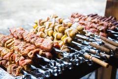 Kött och potatisar som är förberedda för att steka på steknålar Royaltyfri Fotografi