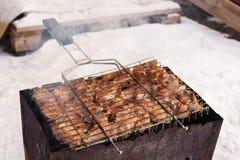 Kött på ett galler med rök Fotografering för Bildbyråer