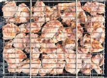 Kött på ett galler med rök Royaltyfri Foto
