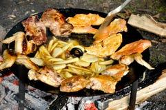 Kött på grillfest Arkivfoto