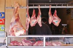 Kött på marknaden i Taroudant, Marocko Arkivfoton