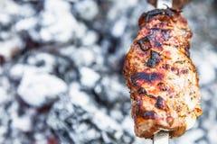 Kött planteras på en steknål som grillas på kol Royaltyfria Bilder