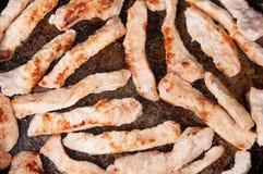 Kött river av Fried In en panna Fotografering för Bildbyråer