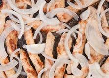 Kött river av Fried With Onion In en panna Arkivbild