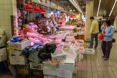 Kött shoppar i Kowloon, Hong Kong Arkivfoto