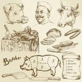 Kött slaktare royaltyfri illustrationer