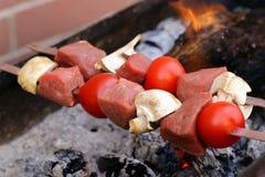 Kött som grillas på brandsteknålarna (shashlik) Arkivbilder