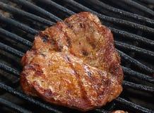 Kött som grillas på ett utomhus- galler Royaltyfria Bilder