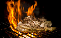 Kött som lagas mat till branden Royaltyfria Bilder