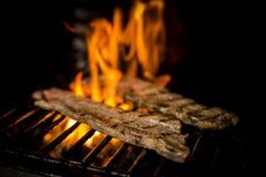 Kött som lagas mat till branden Arkivbild