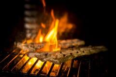 Kött som lagas mat till branden Arkivbilder