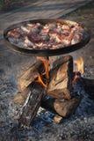 Kött som stekas över en öppen brand Arkivbild