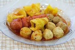 Köttboll på plattan, Thaifood Royaltyfri Bild