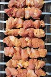 Köttet stekas på pinnar på kol royaltyfri fotografi