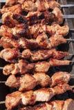 Köttet stekas på pinnar på kol royaltyfri foto