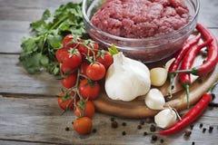 Köttfärs med grönsaker Arkivbild
