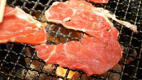 Köttgrillfestbegrepp: rått nötköttgaller med brand på ugnkol, hög definition lager videofilmer