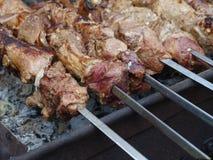 Köttkebab på steknålar Arkivfoto