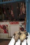 Köttmarknad, Marocko slaktare Royaltyfri Bild
