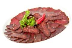 Köttmatvaruaffärplatta Arkivbild