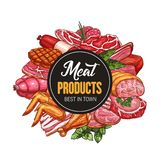 Köttprodukter och korvsymboler, slakt shoppar vektor illustrationer