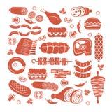 Köttsymbolsuppsättning royaltyfri illustrationer