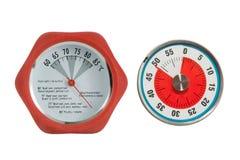 Kötttermometer och köktidmätare Arkivfoto