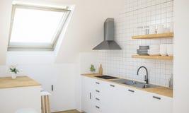 Küche auf Dachboden stockbild