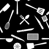 Küche bearbeitet nahtloses Muster Lizenzfreie Abbildung