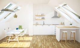 Küche an der Dachbodenwohnung stockbilder