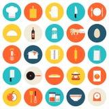 Küche, die flache Ikonen der Werkzeuge und der Geräte kocht Stockbilder