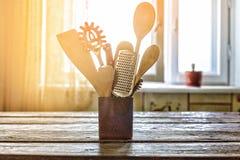 Küche, Gerät, Hintergrund, Sonnenlicht, Lebensmittel, Holz, Dekoration, Lizenzfreie Stockfotos