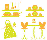 Küche-Gerät-Tonware-Vorfeld-Szene Stockfotos