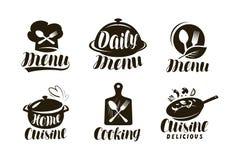 Küche, Logo oder Aufkleber kochend Satz Ausweise für Restaurantmenüdesign Vektorbeschriftung lizenzfreie abbildung