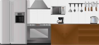 Küche mit dem ganzem Zubehör in den unterschiedlichen Schichten im Vektor Stockbilder