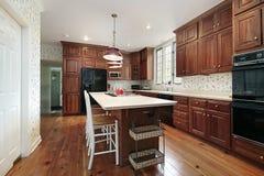 Küche mit hölzernen Kabinetten Lizenzfreie Stockbilder
