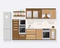 Küche mit Möbeln und langen Schatten Flache Vektorillustration des modernen Designs Stockfotos