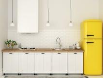 Retro Kühlschrank Gelb : Küche mit weißen möbeln und einem gelben kühlschrank stockfoto