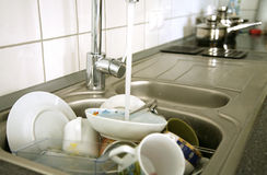 Küche nach Frühstück Lizenzfreies Stockbild