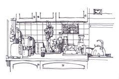 Küche noch mit unterschiedlichem homeware Stockbilder
