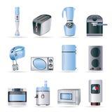 Küche- und Ausgangsausrüstungsikonen Stockfoto