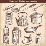 Küche und Kochen des gesetzten Vektors Stockbild