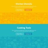 Küche und kochen Linie Art Web Banners Set Lizenzfreie Stockfotografie