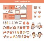 Küche und Kochen von infographic Elementen für Kind Lizenzfreie Stockfotos