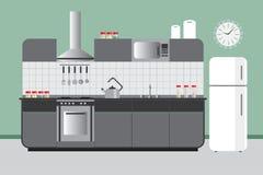 Küchen-Aufzug mit Kabinett-Kühlschrank Hood Microvawe Flacher Vektor-Innenarchitektur in der grünen grauen und weißen Farbe Lizenzfreies Stockfoto