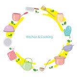 Küchen-Ausrüstung auf Kreis-Rahmen Stockbild