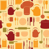 Küchen-Geräte im nahtlosen Hintergrund Lizenzfreies Stockfoto