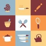 Küchen-Ikonen-Satz und Zeichen Lizenzfreies Stockfoto