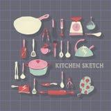 Küchen-Ikonensatz des Vektors Hand gezeichneter Lizenzfreies Stockfoto
